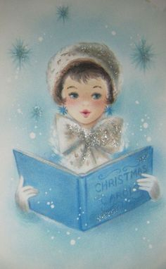 Vintage Christmas Card Glitter Girl Caroling Hat Bow Snow Blue Hallmark Greeting