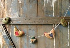 Easter Garland-Primitive Easter Eggs by RusticCraftsbySue on Etsy
