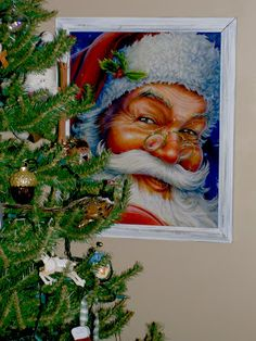 Frame a large gift bag for easy Christmas decor