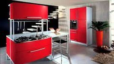 Red Kitchen for Bright and Dark Interior: Red Kitchen Island And Cabinet With Fur Rug And Small Plant For Black And White Kitchen Interior Red Kitchen Island, Red Kitchen Cabinets, Kitchen Paint, Granite Kitchen, Kitchen Walls, Granite Countertops, White Kitchen Interior, Interior Design Kitchen, Beautiful Kitchens
