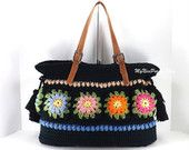 Crochet Floral Granny Squares Tote Bag with Adjustable Genuine Leather Strap Handles