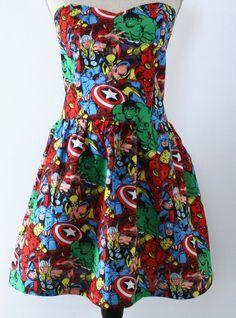 Mavel Comics Avengers Strapless Dress for Tween, Teen, Junior, or Ladies Your Custom Size on Etsy, $75.00