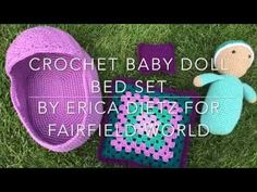 Crocheted Baby Doll Bed Set - Fairfield World Craft Projects : A crocheted baby doll bed set to go along with your crocheted baby doll. Set includes a basket style bed, a blanket, and a pillow. Baby Doll Crib, Baby Doll Set, Crochet Doll Pattern, Crochet Dolls, Crochet Baby, Free Crochet, Knit Crochet, Doll Carrier, Doll Beds
