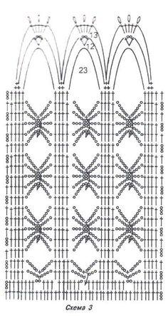 Βελονάκι - δύο φορέματα και παλτά. Συζήτηση για LiveInternet - Ρωσική Υπηρεσία online ημερολόγια Crochet Shawl Diagram, Crochet Stitches Chart, Lace Knitting Stitches, Crochet Patterns, Crochet Curtain Pattern, Crochet Curtains, Curtain Patterns, Crochet Doilies, Crochet Cow