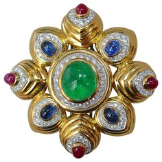 David Webb Multi Color Gem Diamond Gold Brooch | From a unique collection of vintage brooches at https://www.1stdibs.com/jewelry/brooches/brooches/