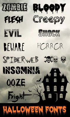 These Halloween fonts are great for making party place-cards, gift tags, decorative signs, banners, you name it! Free Fonts for Halloween Free Fonts For HalloweenFree Dingbats For Fa. Halloween Fonts, Halloween Cards, Holidays Halloween, Halloween Invitations, Spooky Halloween, Desenhos Halloween, Manualidades Halloween, Cool Fonts, Fun Fonts
