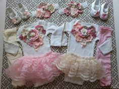 These outfits will be ready to ship within a week.    Bring your babies home in these beautiful, unique handmade, hand-sewn complete newborn