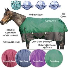 We love our Dura-Tech® 1200D VIKING Turnout! This sheet is waterproof, windproof and breathable. This 1200 denier is durable enough to withstand pasture mates! Traditional Euro fit, no back seam. Sheet features include:  two buckle open front with Velcro assist, fleece at withers, extended gussets, criss cross surcingles, detachable elastic leg straps, tail cover and a contoured fit.  Horsewear at Schneiders Saddlery.