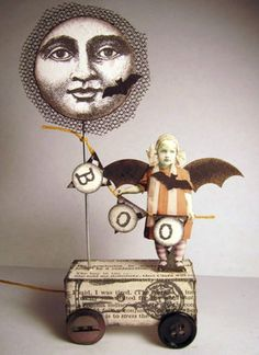 Halloween Folk art!  I would not do the halloween theme but would use the face on a balloon she is holding