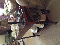 tea cart used as a side table!