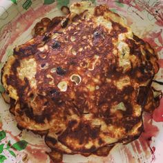 Protein pancakes! 1 scoop of vanilla whey protein, 4 egg whites, 1/3 cup of oats and blueberries! Mix all together and cook in pan like regular pancakes. Substitute fruit if desired.