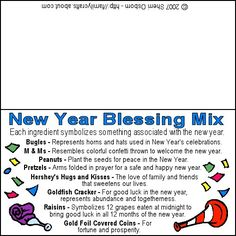 New Year Blessing Snack Printable Bag Gift Tag