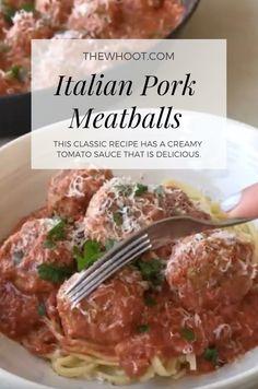 Italian Pork Meatballs With Creamy Tomato Sauce Recipe - Pork Recipes Pork Sausage Recipes, Mince Recipes, Cooking Recipes, Cooking Okra, Budget Cooking, Oven Recipes, Vegetarian Cooking, Easy Cooking, Recipies