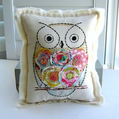 hand sewn fabric scrap flower owl pillow by tracyBdesigns on Etsy, $26.00