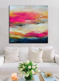 Pink fuchsia abstract print, Pink blue white Giclee, square ready to hang art, colorful modern contemporary art, living room decor office THIS IS A PRINT ON CANVAS, NOT AN ORIGINAL PAINTING. This giclee print is ready to hang, stretched on wooden bars and wired on the back. I do ship