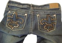 #forsale Pre-Loved Women Jean SZ 9 10 Embellished #BLING Rue 21 Premiere Denim Chains Patches  33X29 #rue21