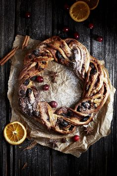 cinnamon, berry & marzipan stollen wreath (Baking Treats For Christmas) Xmas Food, Christmas Desserts, Christmas Baking, Christmas Christmas, Dessert Recipes, Dinner Recipes, Easy Desserts, Diy Food, Food Styling