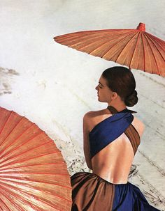 Virginia Stewart is wearing a sundress by Joset Walker, photo by Louise Dahl-Wolfe in the California desert near Yuma, used for cover of Harper's Bazaar, May 1948