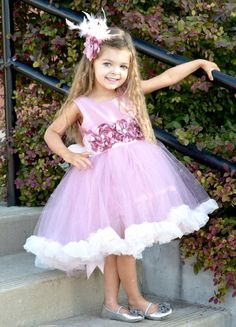 nontraditional? Couture mauve pink flower girl / special occasion by FabTutus, $95.00