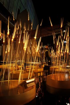 Exhibition design Nature - radiating a warm golden glow onto the exterior of SEG experience building in thailand is the immersive light installation by bangkokbased multi disciplinary design firm apostrophy's Landscape Architecture, Landscape Design, Architecture Design, Landscape Lighting, Outdoor Lighting, Exposition Interactive, Bühnen Design, Luminaire Design, Environmental Design