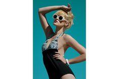 Aztec Halter Full Suit by Gabrielle Swimwear Designer Swimwear, Cat Eye Sunglasses, Aztec, Swimsuits, African, Pretty, Photography, Stuff To Buy, Vintage