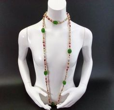 Vintage Germany Glass Bead Baroque Pearl Wood Flapper Necklace About 5 Feet Long