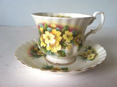 Vintage Royal Albert Bone China England Tea Cup And Saucer Yellow Flowers in Pottery & Glass, Pottery & China, China & Dinnerware, Royal Albert | eBay