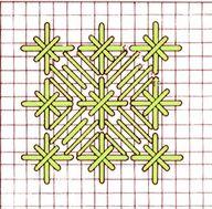 Hardanger--Satin stitch flower with double cross. Broderie Bargello, Bargello Needlepoint, Needlepoint Stitches, Needlework, Plastic Canvas Stitches, Plastic Canvas Crafts, Plastic Canvas Patterns, Hardanger Embroidery, Cross Stitch Embroidery