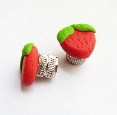 Strawberry valve caps
