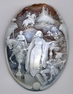 "Modula Gioielli - ""Camelot"" , cameo by Ciro Mazza. Cameo Jewelry, Antique Jewelry, Vintage Jewelry, Jewellery, Art Sculpture, Sculptures, Bijoux Art Nouveau, Templer, Art Thou"