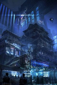 A dark blue city ascends into the sky by feng zhu. Traditional architecture survives into the future as massive structures are built around it.