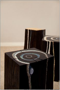 Black Bloc Wooden Stumps Art Stumps as art furniture or sculptures