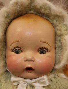 """Old 13"""" Antique Vintage Composition Cloth Pettie America's Wonder Baby Doll"""