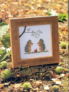 Cross stitch pattern - 2 Hedgehog with apple on Etsy, $3.00