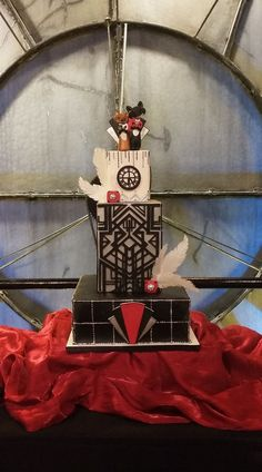 Art Deco Gatsbystyle wedding cake at the Clocktower in Denver. Denver, Wedding Cakes, Art Deco, Christmas Ornaments, Holiday Decor, Home Decor, Wedding Gown Cakes, Decoration Home, Room Decor