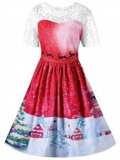 c3b93d479b56 Vintage Christmas Graphic Lace Yoke Swing Dress