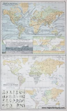Chart of the World Exhibiting its Chief Physical Features and Ethnographical Chart of the World - Antique Maps and Charts – Original, Vintage, Rare Historical Antique Maps, Charts, Prints, Reproductions of Maps and Charts of Antiquity