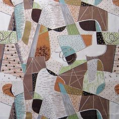 barkcloth   Vintage Barkcloth Fabric 50s Atomic Eames by NiceworkByTheYard