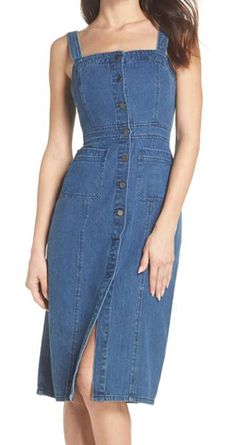 The Bizarre Summer Trend Celebrities Swear By That's Actually Kind Of Chic Denim Bodycon Dress, Jeans Dress, I Dress, Dress Outfits, Casual Dresses, Denim Dresses, Denim Dress Outfit Summer, Denim Fashion, Fashion Outfits