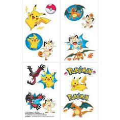 16 Pokemon Temporary Tattoos Great for party favors