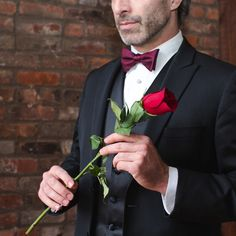 Today, a red rose is the only accessory you'll need. Happy to you and your special someone. Tuxedos, Red Roses, Happy, Accessories, Tuxedo, Ser Feliz, Being Happy, Jewelry Accessories