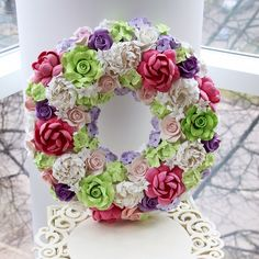 Handmade wreath. <br> <p>Made from Decoclay. Wedding/ home decoration. Made to order.</p>
