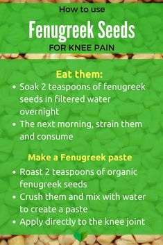 how to use fenugreek for knee pain