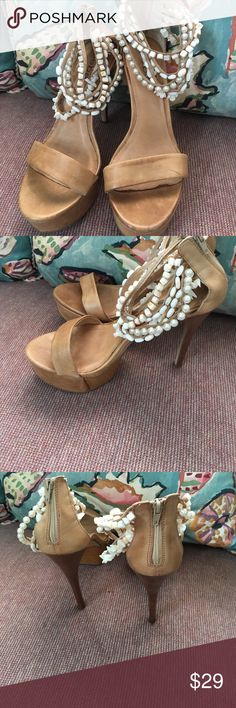 Seashells Anyone?? (Price Firm) Tan with White Seashells around ankle, one spot missing some shells noted , Leather bebe Shoes Platforms