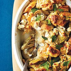 Artichoke and Goat Cheese Strata | CookingLIght.com