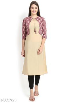 Kurtis & Kurtas ALC Creation Women Solid Crepe Kurti Fabric: Kurti -  Crepe , Jacket - Crepe Sleeve Length: Three-Quarter Sleeves Work / Pattern: Kurti - Solid , Jacket - Printed Combo of: Single Sizes: Kurti - XS - 34in, S - 36in, M - 38 in, L - 40 in, XL - 42 in, XXL - 44 in , Jacket -  XS - 34in, S - 36in, M - 38 in, L - 40 in, XL - 42 in, XXL - 44 in Sizes Available: XS, S, M, L, XL, XXL *Proof of Safe Delivery! Click to know on Safety Standards of Delivery Partners- https://ltl.sh/y_nZrAV3  Catalog Rating: ★4.1 (11759)  Catalog Name: ALC Creation Women Solid Crepe Kurtis CatalogID_538850 C74-SC1001 Code: 254-3837270-