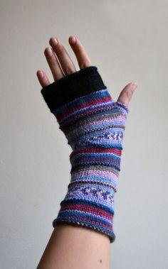 Handknit Lavender Fingerless Gloves  Wrist Warmers  by lyralyra, $29.00