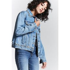 Forever21 Metal Studded Denim Jacket ($40) ❤ liked on Polyvore featuring outerwear, jackets, medium denim, forever 21, blue jackets, forever 21 jackets, jean jacket and long sleeve jacket