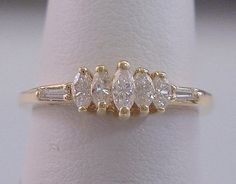 Gold Diamond Ring Marquise and Baguette Cut Diamonds .50 ct Total Diamond Weight Set in Solid 14k Gold by americanjewelryco, $299.00