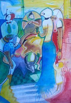 Festa de xitique  Pintura de joao timane   Aguarela sobre cartolina   2015  MOÇAMBIQUE